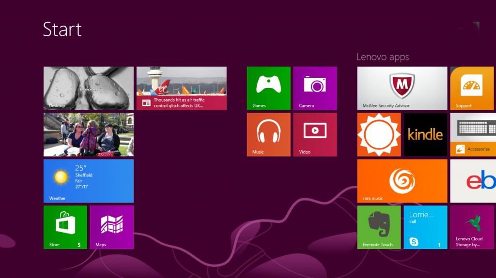 Windows 8 home screen screenshot